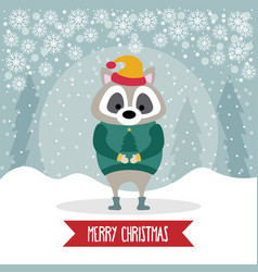 beautiful flat design christmas card with dressed vector image