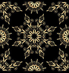 beautiful floral background with golden pattern vector image