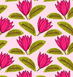 Big pink flower with green leaf vector image