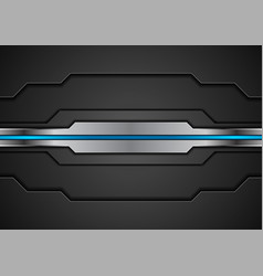 black and metallic concept design with blue vector image