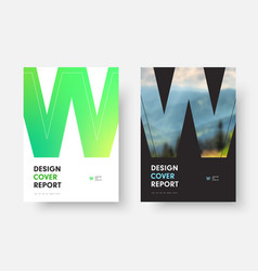 Black and white annual report cover design with vector