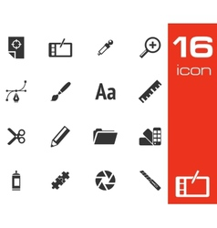 black graphic design icons set vector image