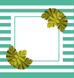 Blank card for text palm leaves tropical and vector