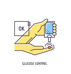 Blood glucose test Diabetes thin line icon vector