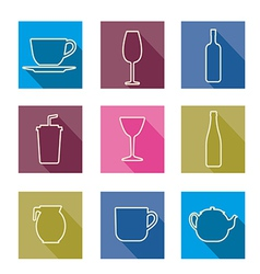 Bottle cup glass collection line silhouette vector image