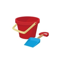 Bucket and shovel for childrens sandbox icon vector image