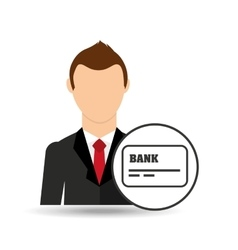 Businessman character credit card debit icon vector