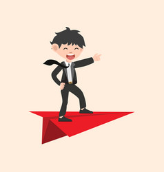 Businessman on red paper plane vector
