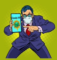 businessman panic coronavirus online information vector image