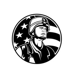 bust american soldier military serviceman vector image