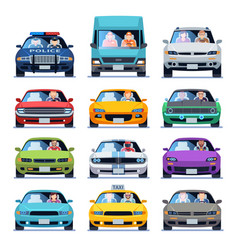 Car front view auto automotive people man woman vector