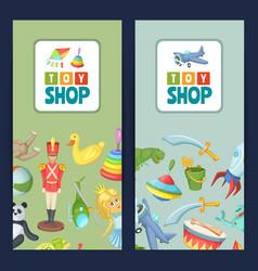 cartoon children toys flyer vector image