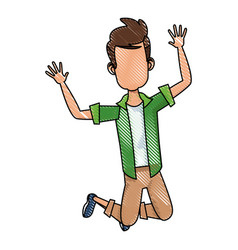 Cartoon man enjoying traveler vacation funny vector