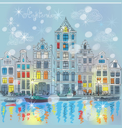 Christmas Amsterdam canal and dutch houses vector