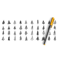 christmas trees doodle set vector image
