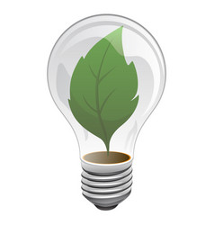 clean energy leaf light bulb logo vector image