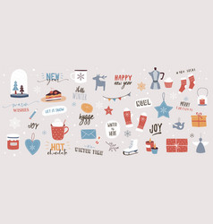 Collection christmas decorations holiday gifts vector