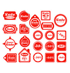 collection of red sale stickers vector image