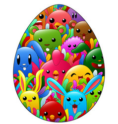 Colored hand drawn ornamental easter egg with dood vector