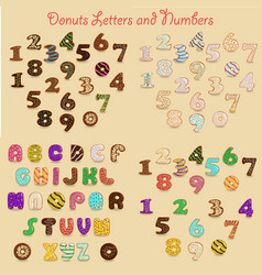 Colorful donuts alphabets vector