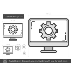 Computer settings line icon vector image