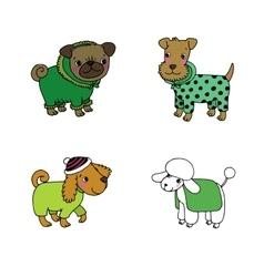 Cute cartoon dogs in winter clothes vector