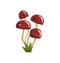 Cute funny honey agaric mushroom characters with vector