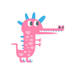 Cute funny little pink dinosaur pehistoric animal vector