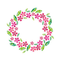 Decorative leave and flower wreath vector
