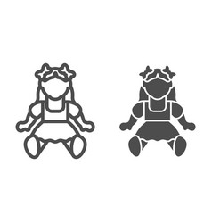 Doll girl line and glyph icon toy vector