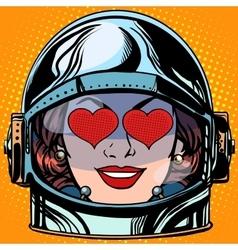 Emoticon love Emoji face woman astronaut retro vector