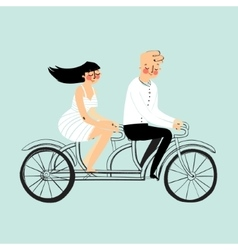 flat design happy young man and woman vector image