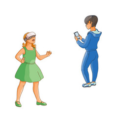 Flat girl boy using modern digital devices vector