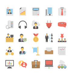 Flat set of office and internet icons vector