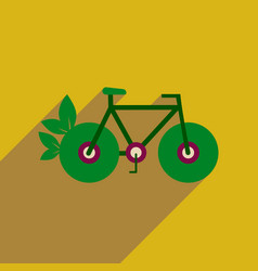 Flat web icon with long shadow bicycle vector