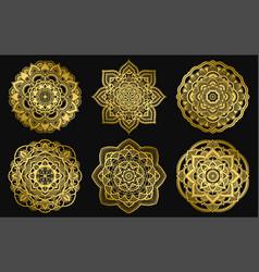 golden mandalas design ethnic round gradient vector image