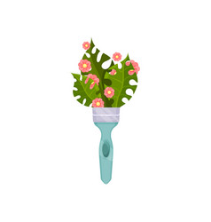 green palm leaves and small pink flowers in blue vector image