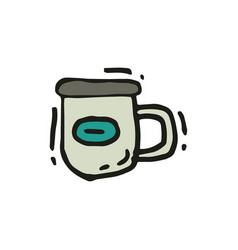 Hand drawn icon camping metal cup vector