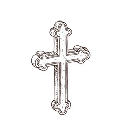 Hand drawn orthodox cross vector