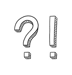 hand drawn question mark and exclamation point vector image