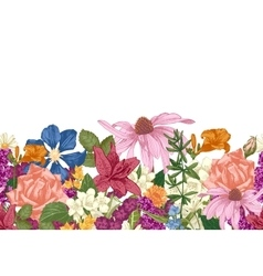 Hand drawn seamless floral border vector image