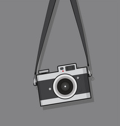 Hanging vintage camera flat style design vector