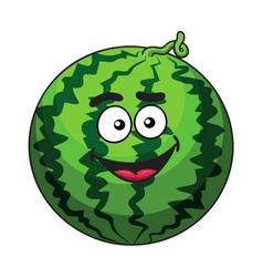 Happy cartoon green watermelon fruit vector