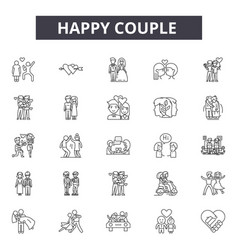 Happy couple line icons signs set vector
