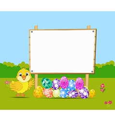 Happy Easter card with eggs and chick nearby wood vector