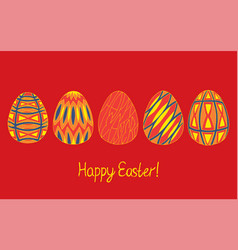 happy easter egg sketch collection in bright vector image