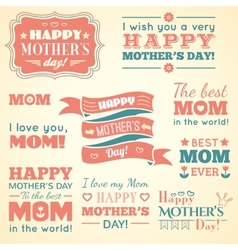 happy mothers day set cute elements vector image