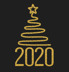 happy new 2020 year festive design with gold vector image