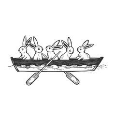 hare animals in boat sketch engraving vector image