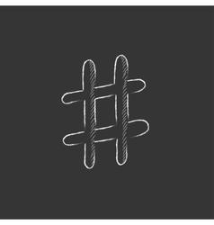 Hashtag symbol Drawn in chalk icon vector